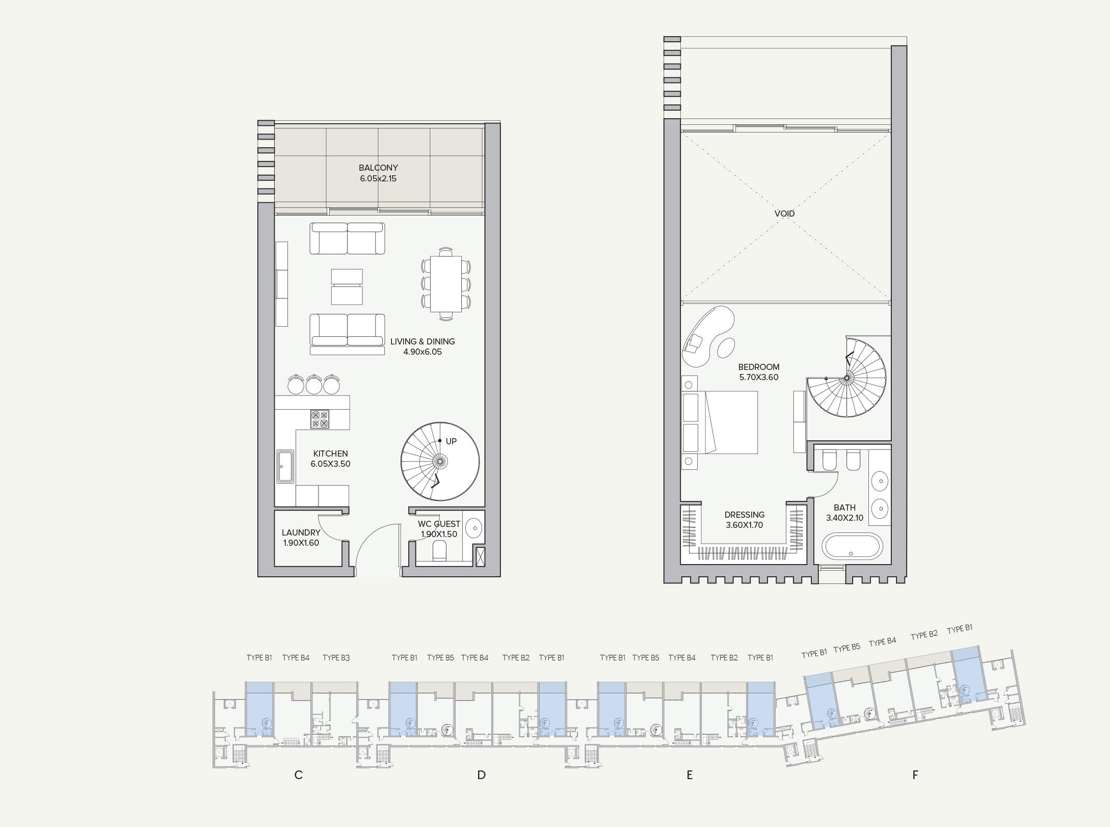 Duplex Type B1 Apartment Block C/D/E/F