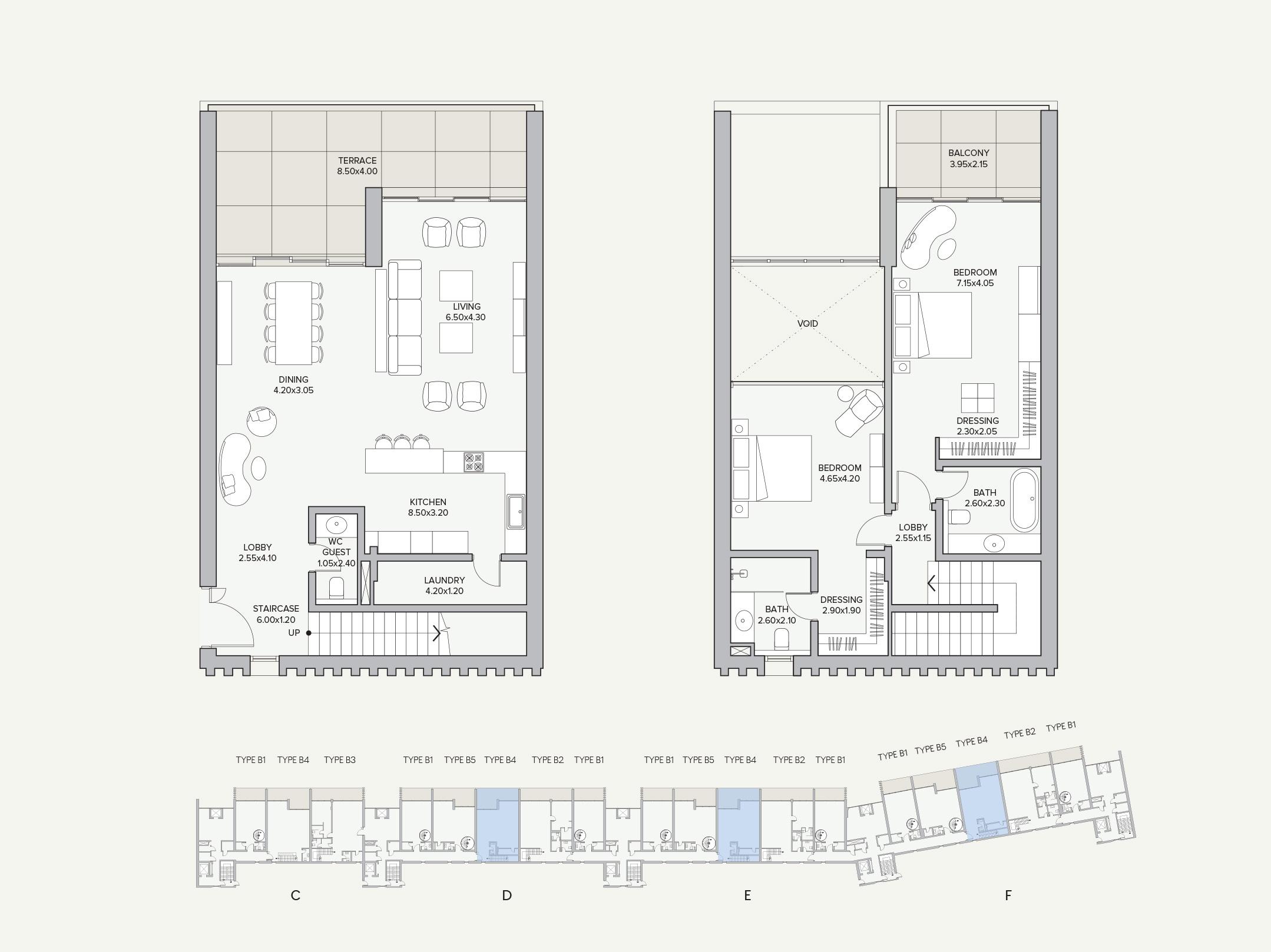 Duplex Type B4 Apartment Block D/E/F