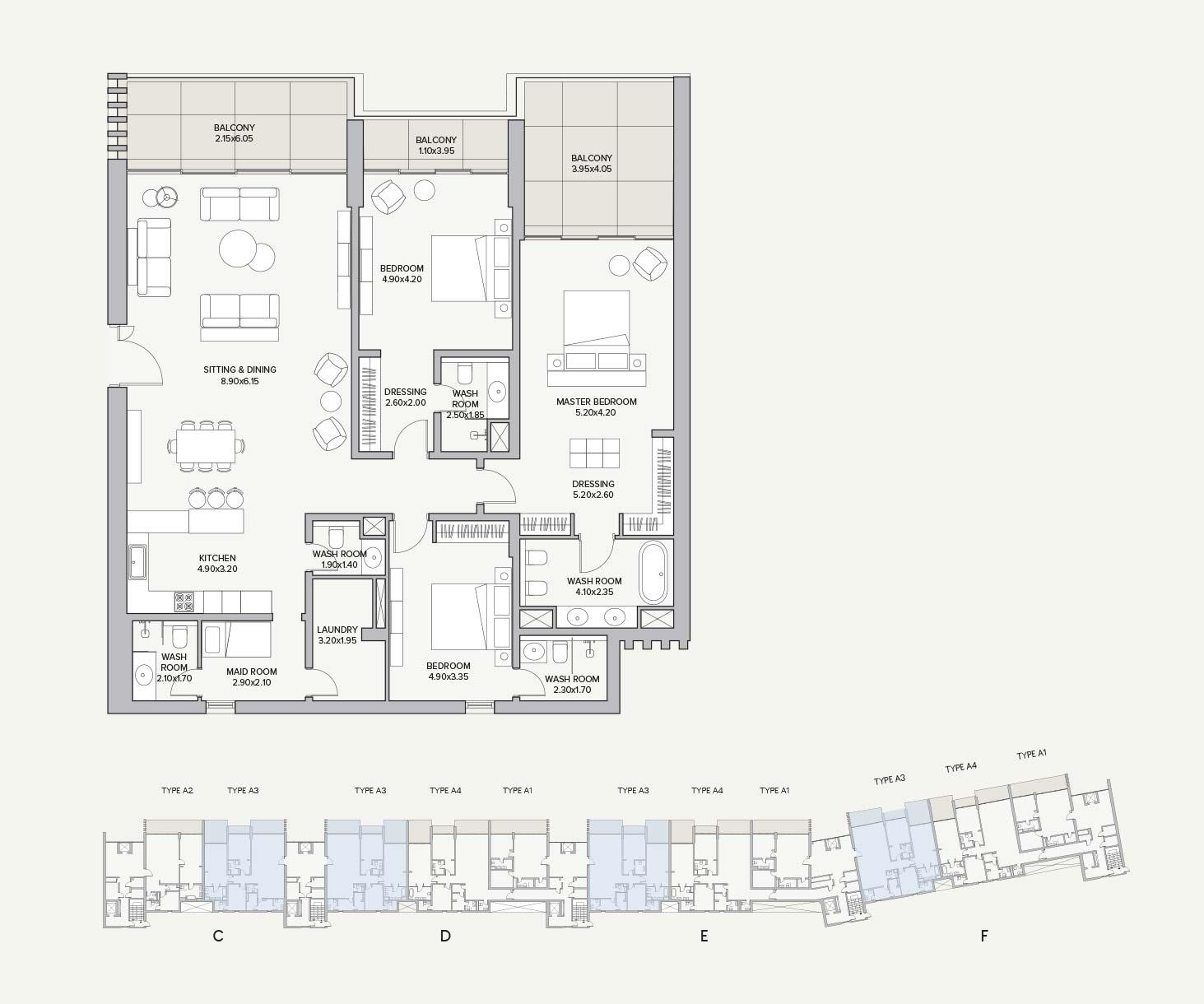 Type A3 Apartment Block C/D/E/F